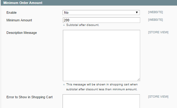 Minimum Order in Magento