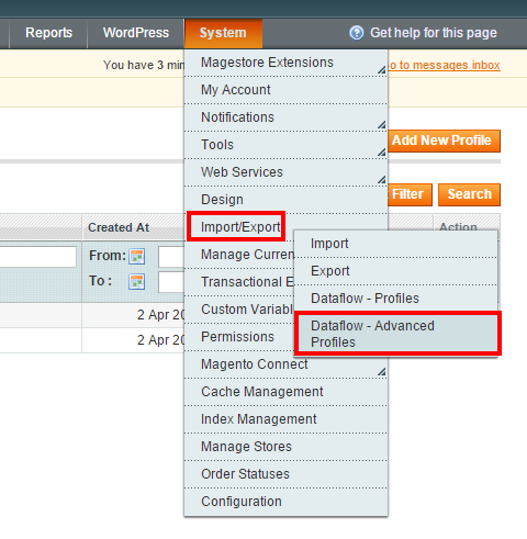 import user account to magento