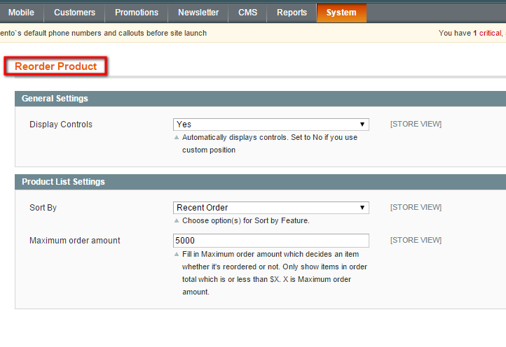 Magento Reorder Product Extension