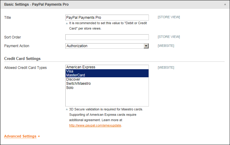 Paypal payment pro basic settings