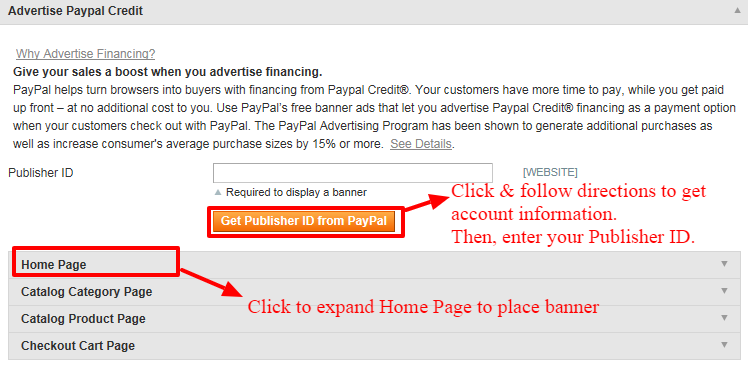 Paypal credit section