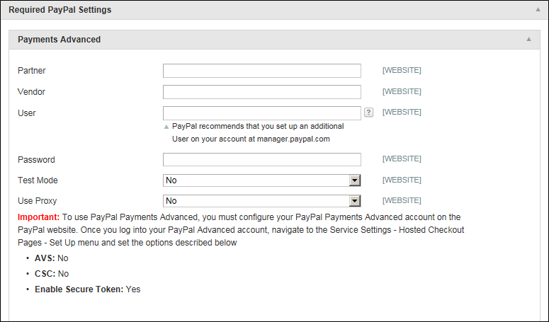 Paypal Payment advanced