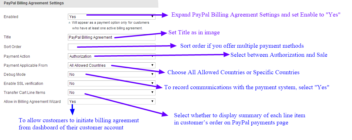 Paypal billing agreement settings