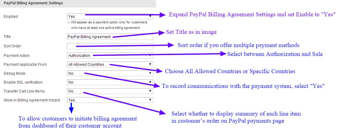Paypal billing agreement settings