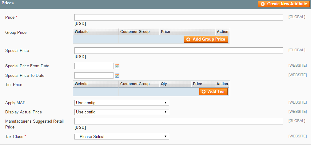 Setting up Magento pricing