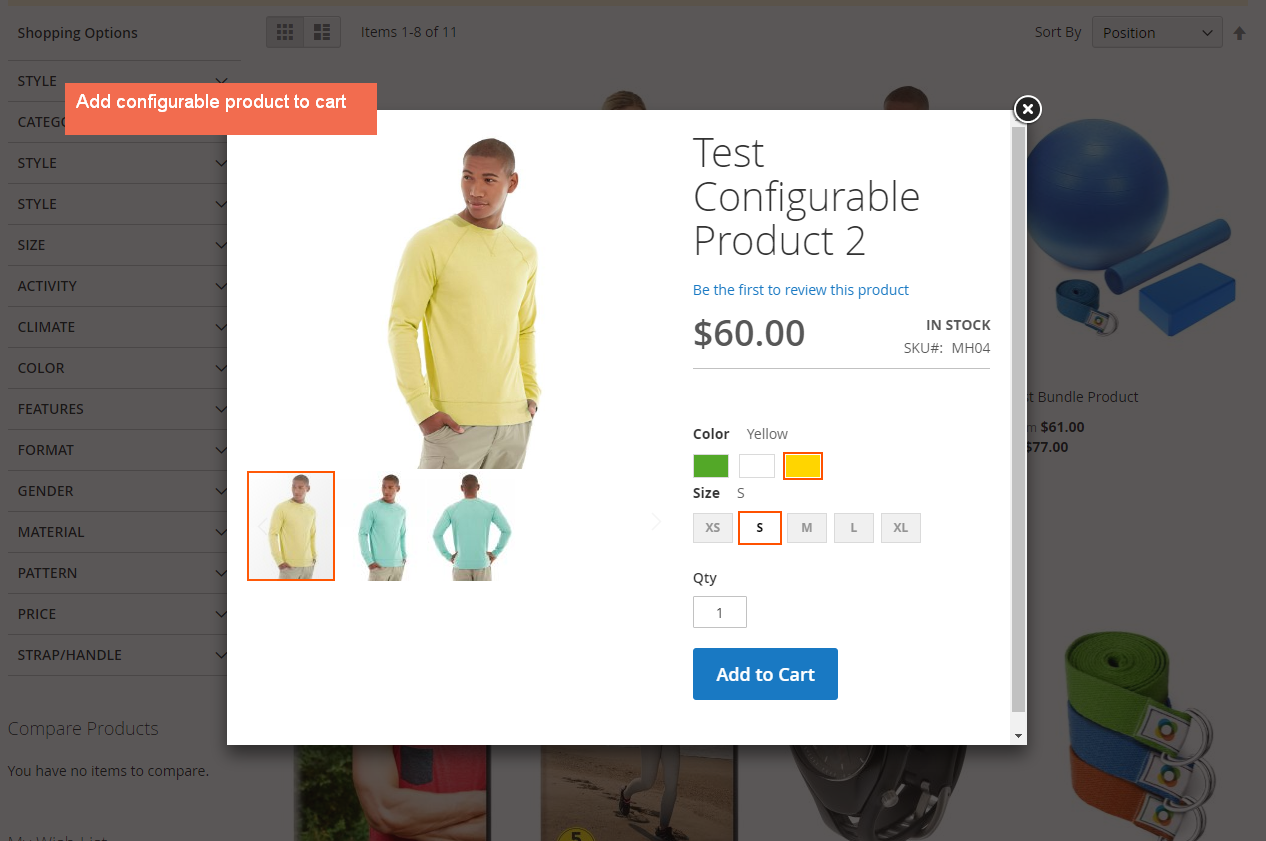 magento 2 ajax pop-up to select product option and add to cart