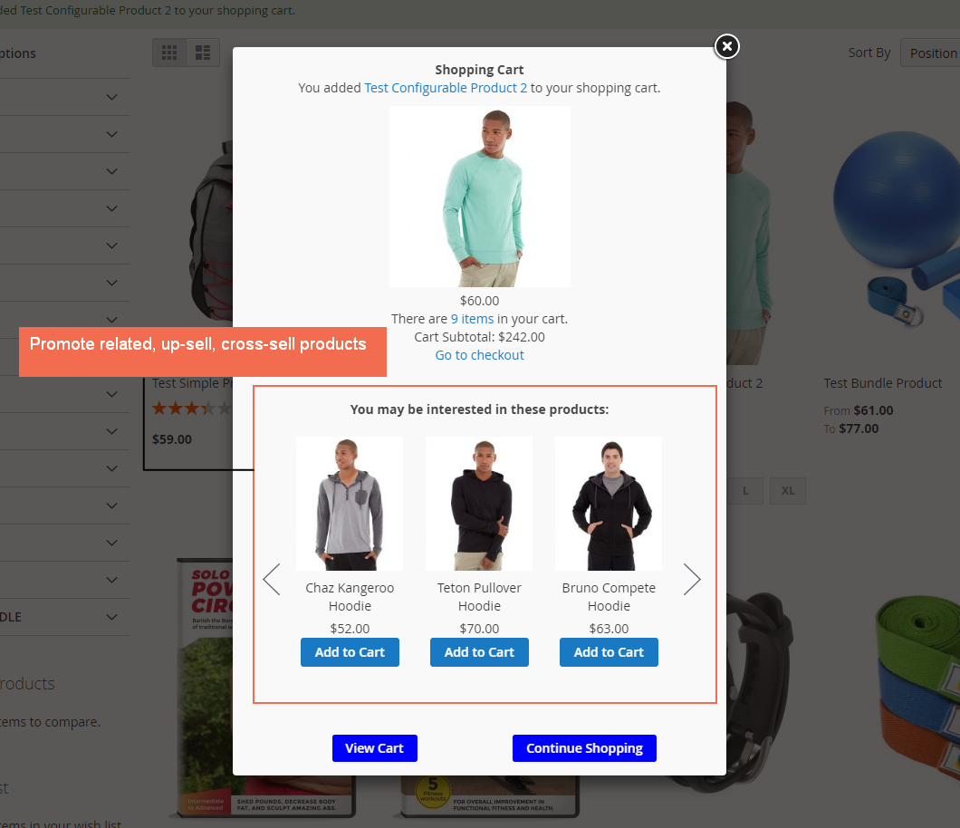 suggested product block in ajax pop-up after adding to cart successfully