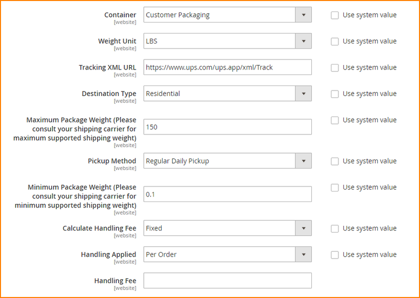 how-to-set-up-magento-2-shipping-methods-UPS-container-description-handling-fee