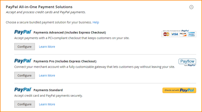 magento payment options-paypal-all-in-one