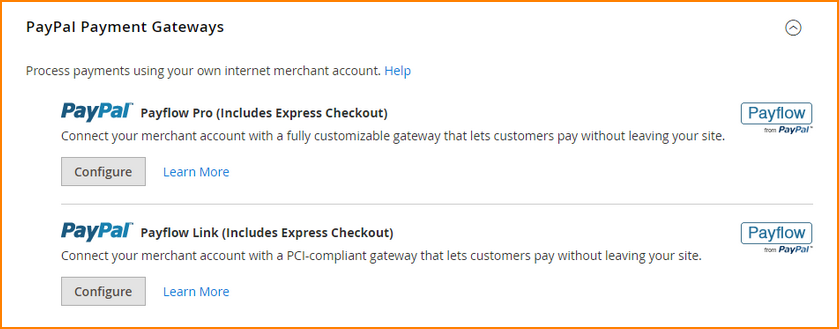 magento payment method-paypal payment gateways