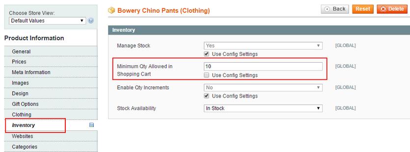 set minimum quantity for configurable product