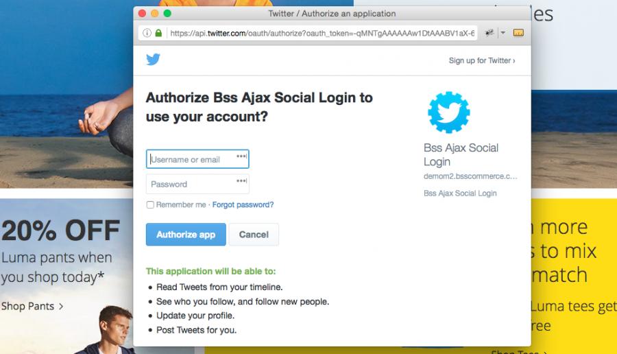 Magento login social account