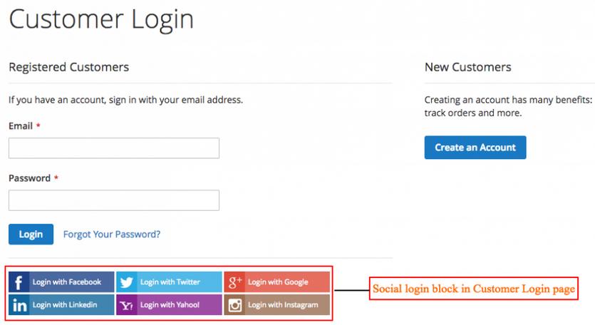Magento social login block