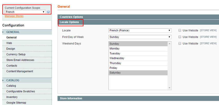 magento set locale option of store view