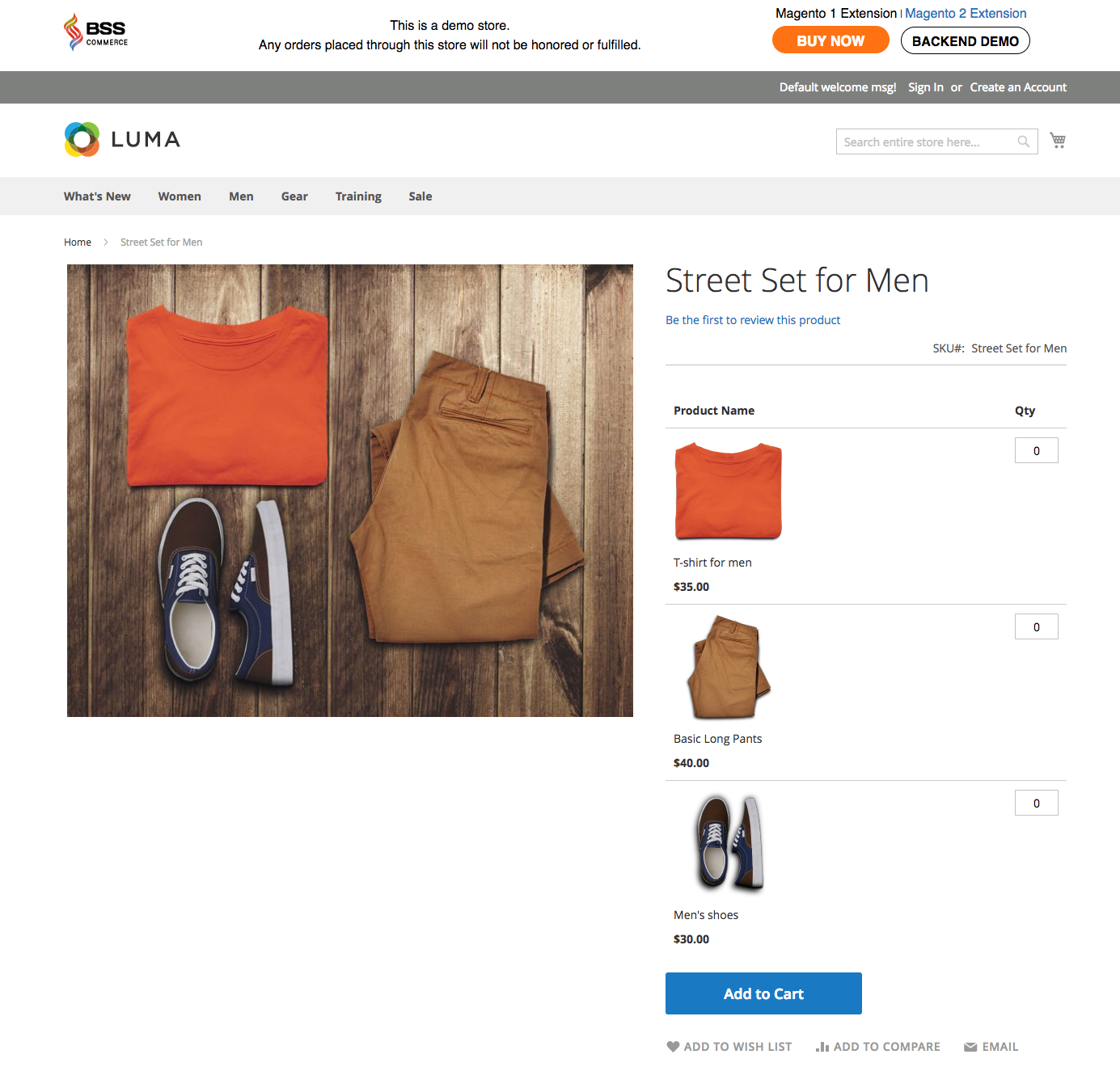 grouped product street set for men