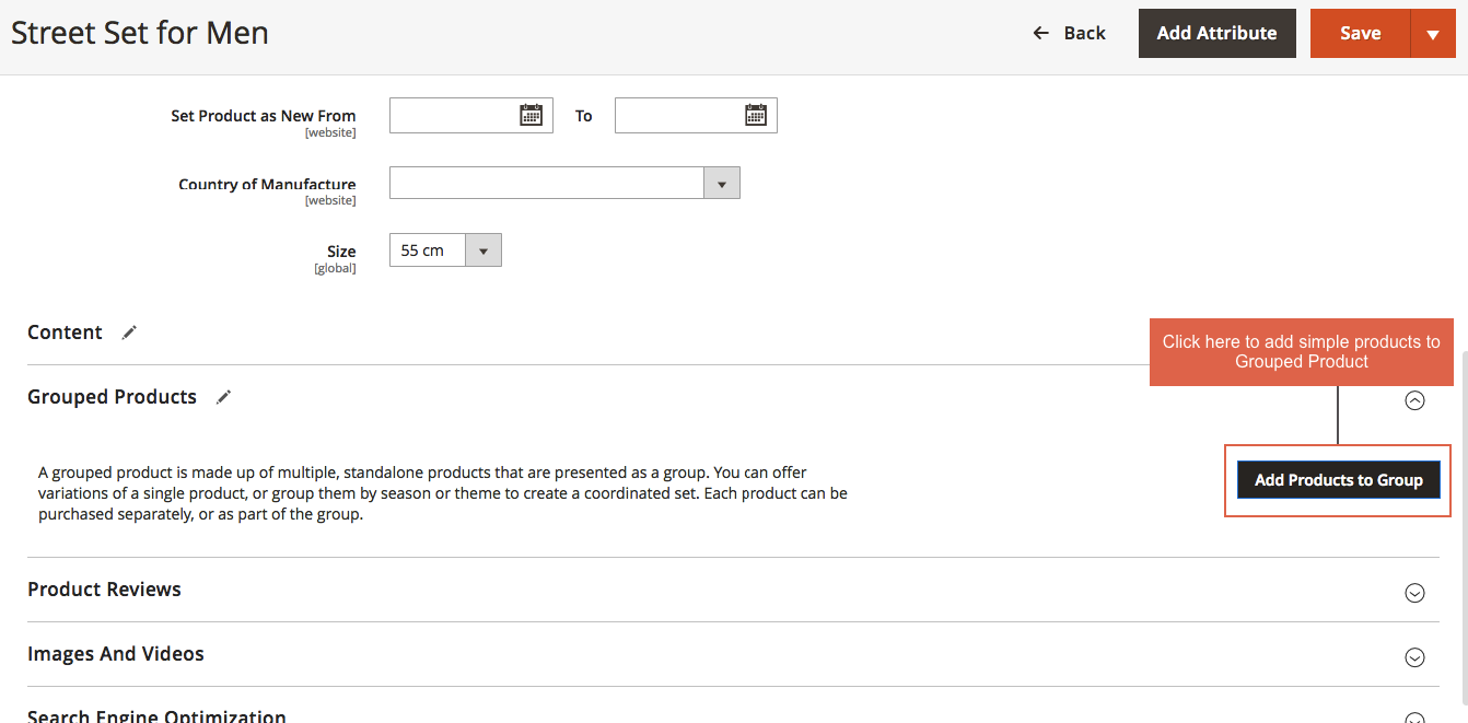 magento group product-add products to group