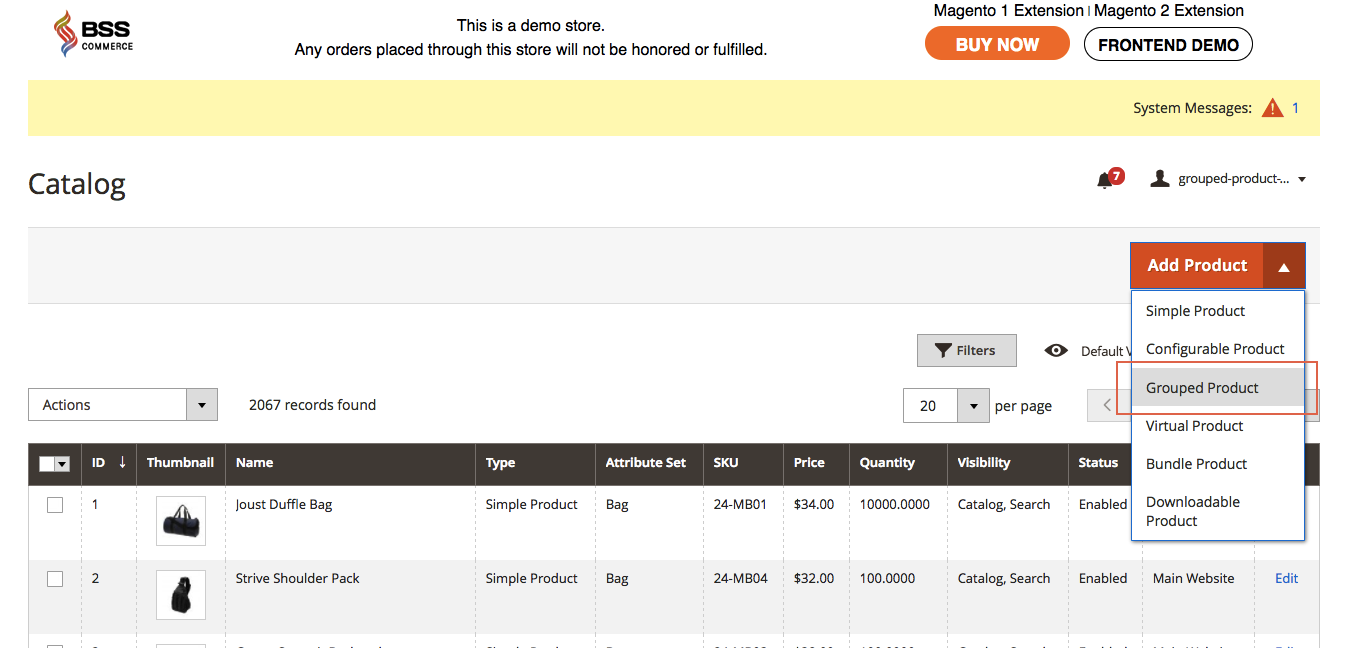 magento group product-choose grouped product