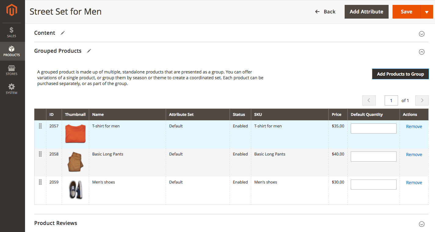 grouped product with custom option