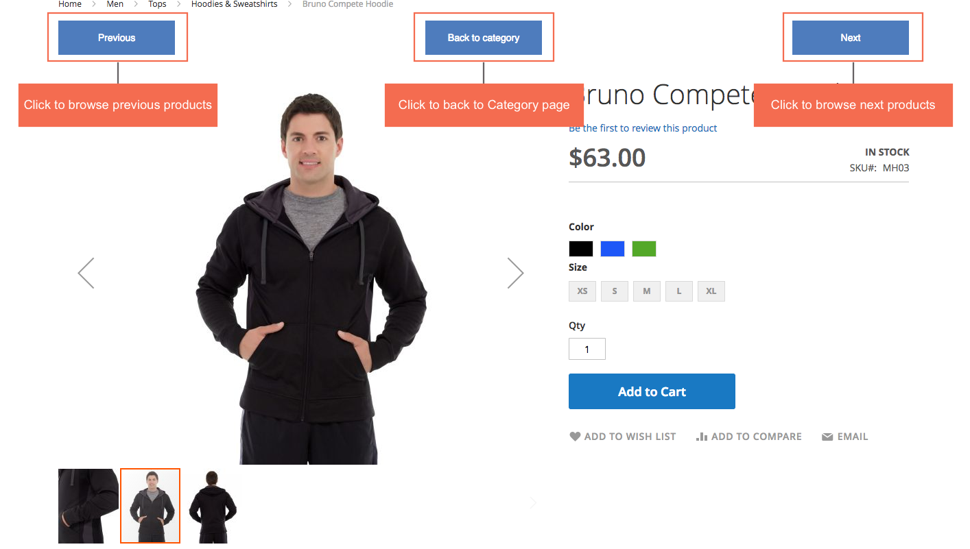 Previous Next button on Product Page for Magento 2