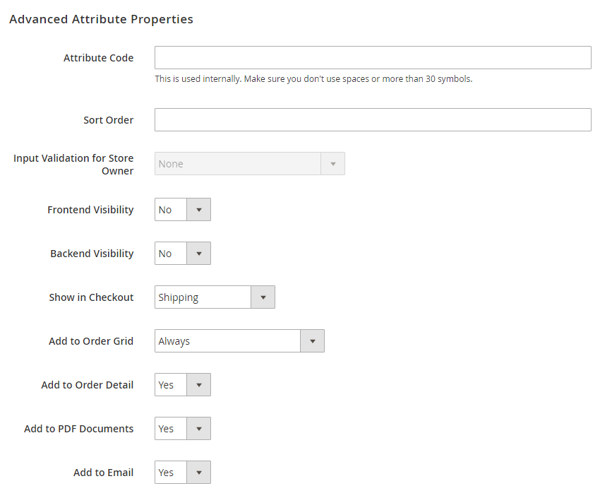 magento 2 checkout custom field Enter advanced attribute properties