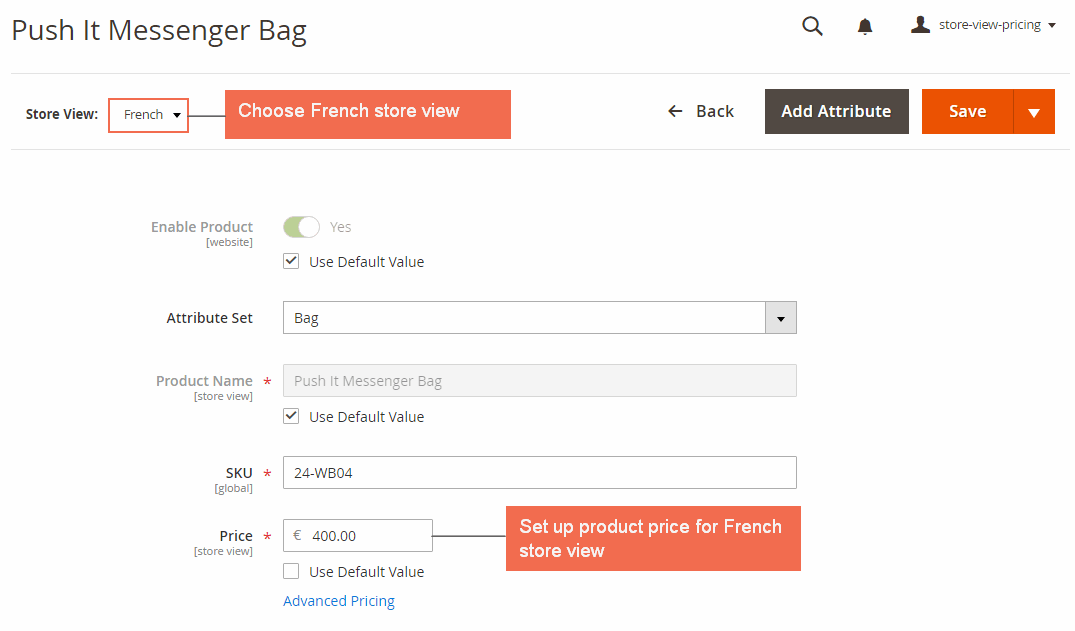 magento 2 multiple store view pricing-set up price in french
