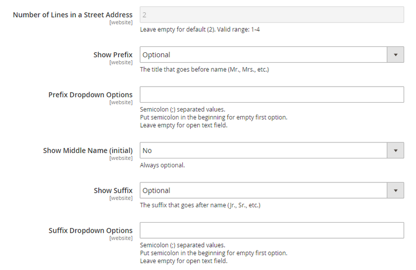 Remove Middle Name, Prefix, and Suffix fields in Magento checkout