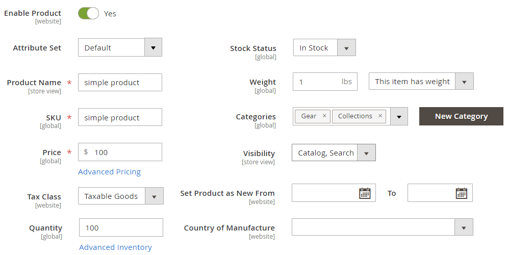 Product general settings