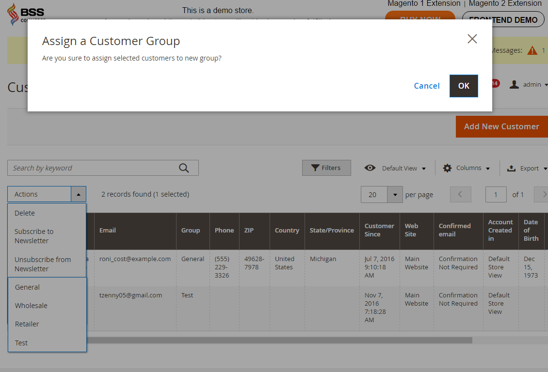 magento 2 confirm after finish assign customer to customer group