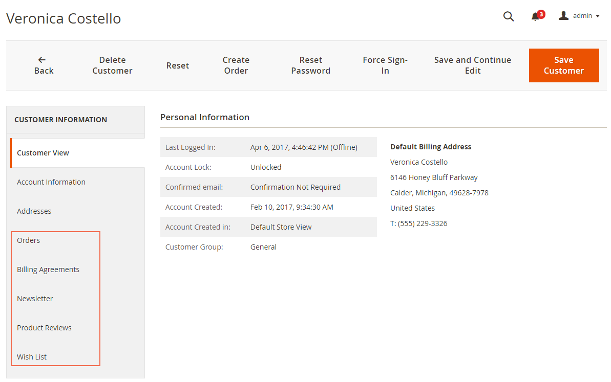 magento 2 manage all customer-related information on Customer View Page