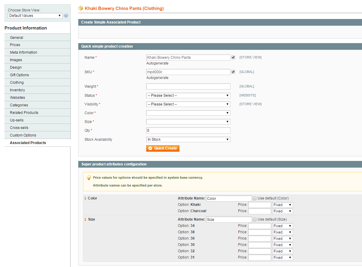 associated product in magento 1