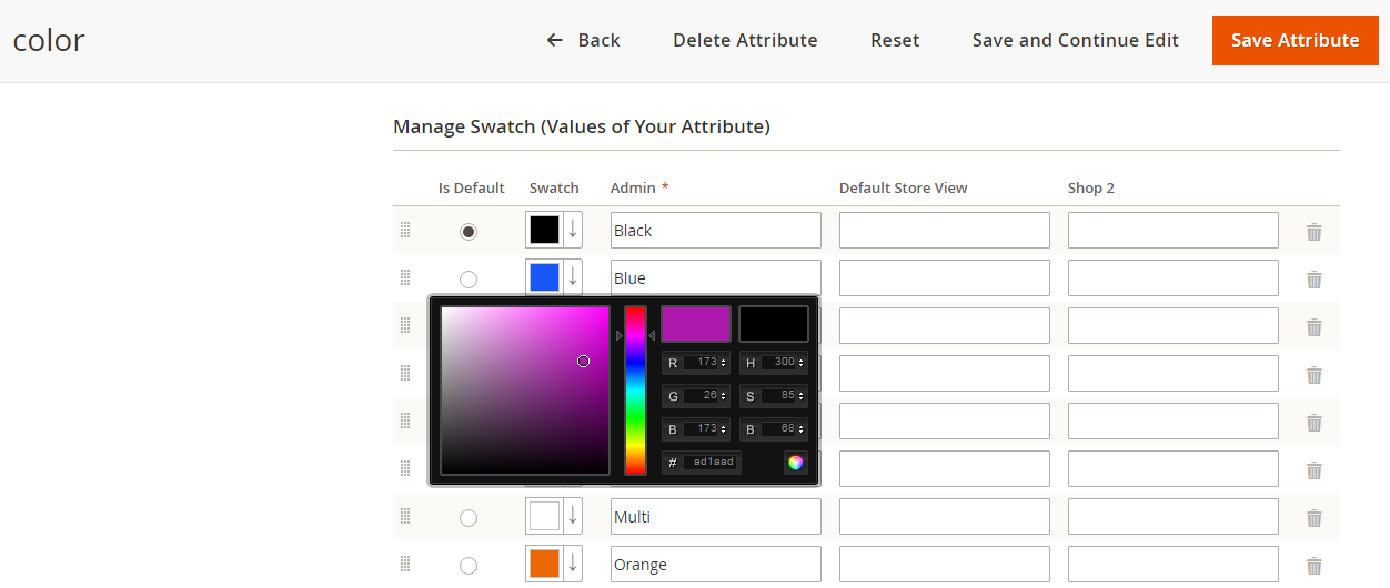 create color swatch in magento 2