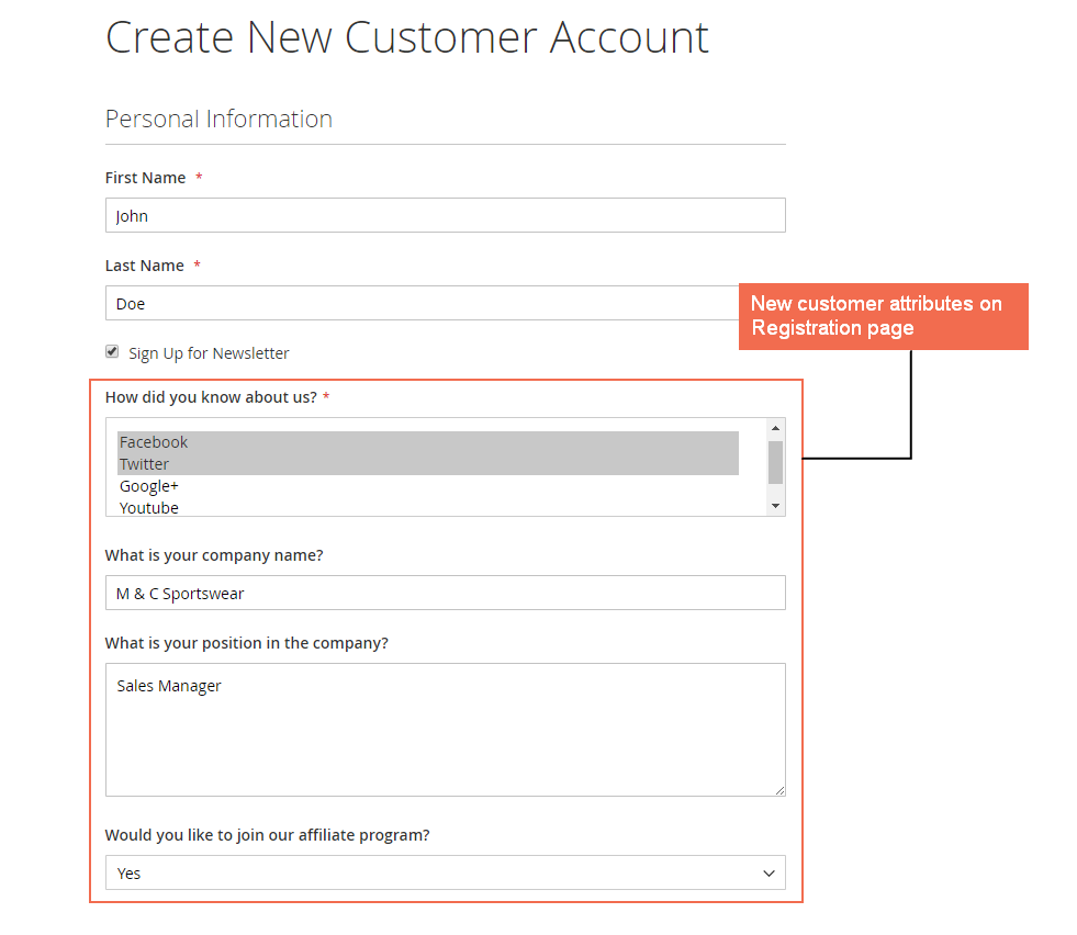 New custom field is displayed on Customer Registration page