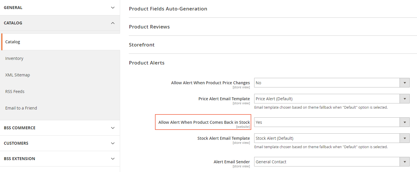 magento 2 set stock alert email notification