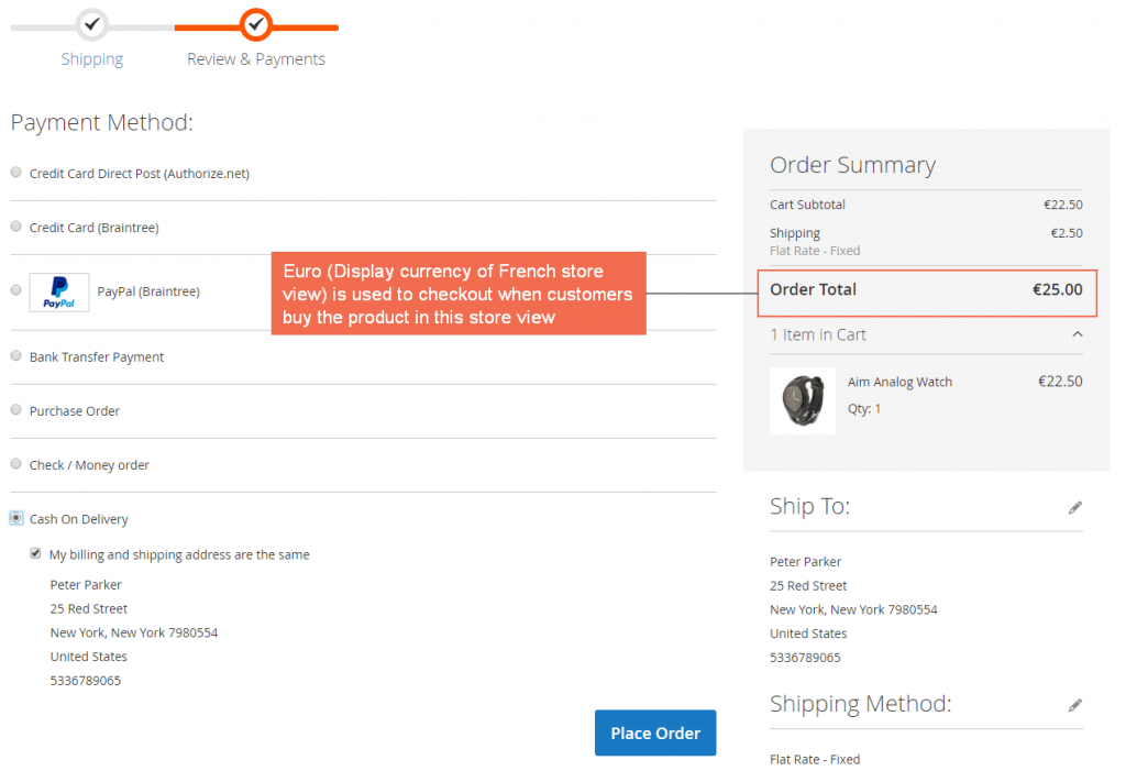 checkout with euro-french store view-magento-2-checkout-display-currency-extension
