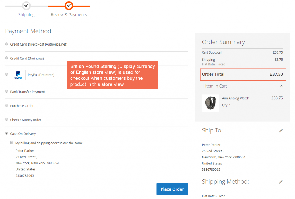 checkout with pound - english store view-magento-2-checkout-display-currency-extension