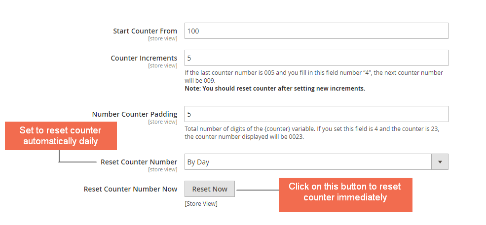 counter settings - Magento 2 custom order number extension