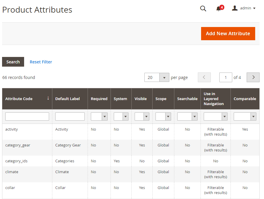import export product attributes magento 2