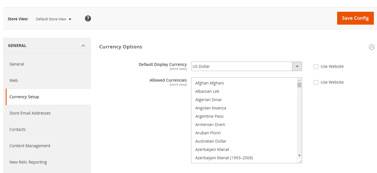 magento 2 set up display currency