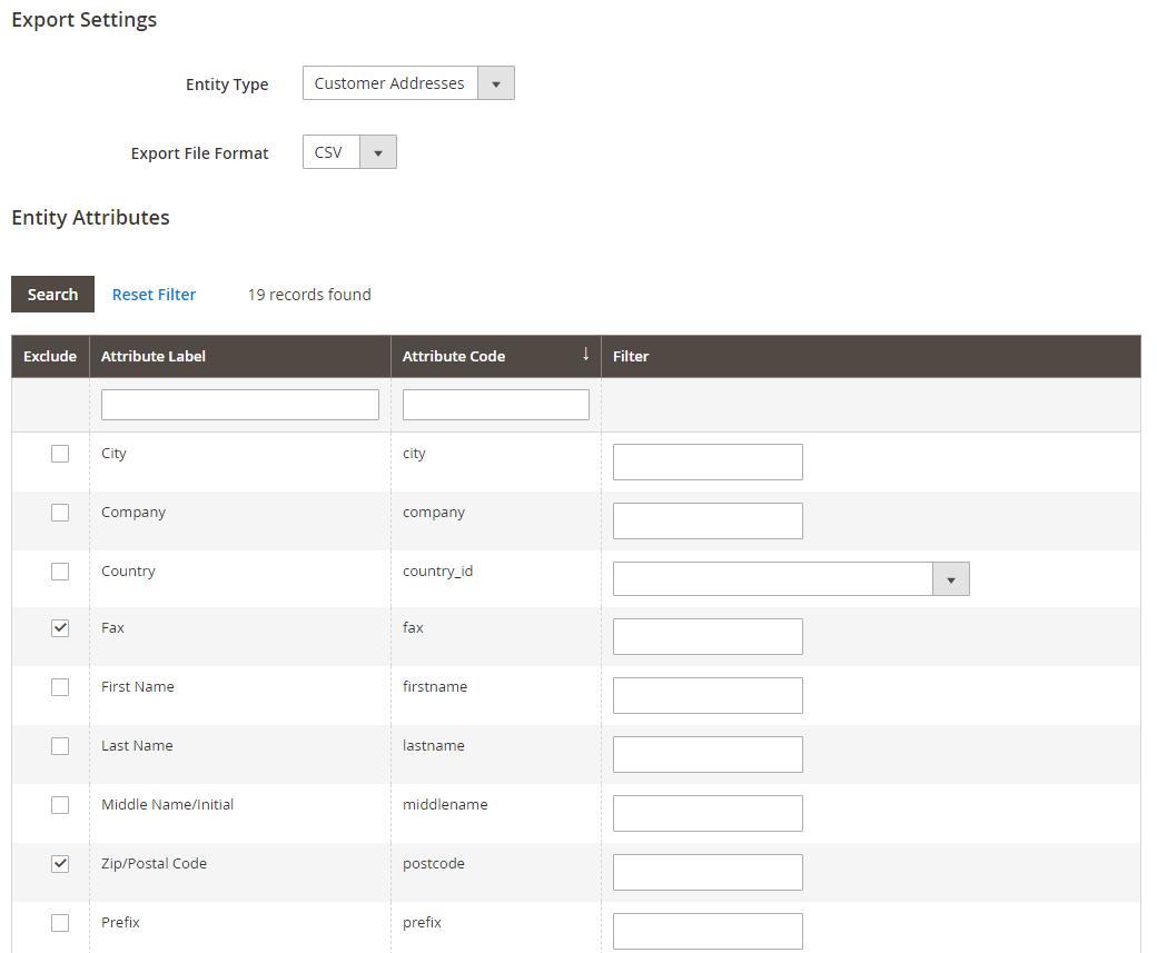 magento 2 import export setting - customer addresses