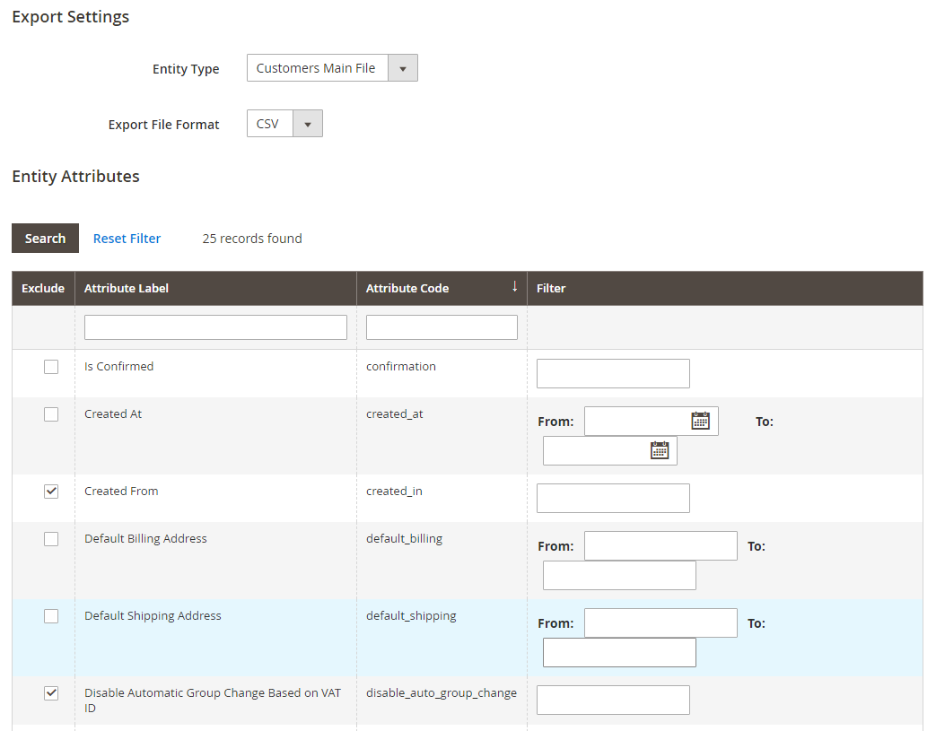 magento 2 import export setting-customer