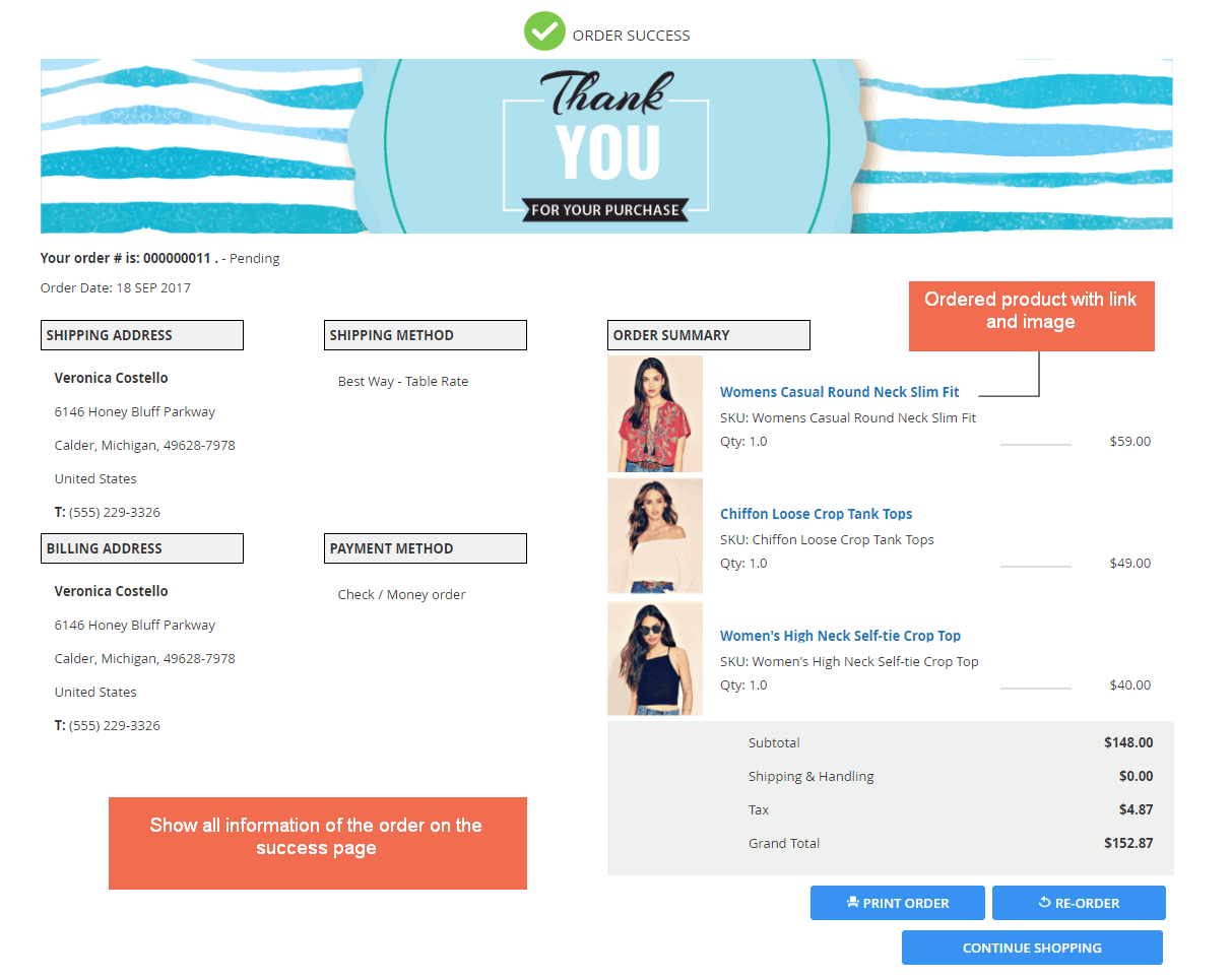 Order information on the thank you page - Magento 2 Checkout Success Page extension