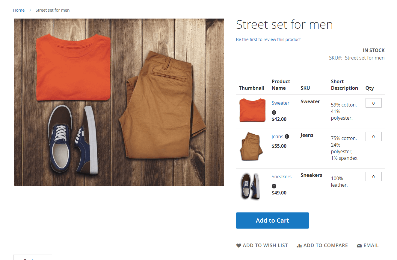 Magento 2 Simple Details on Grouped Product extension