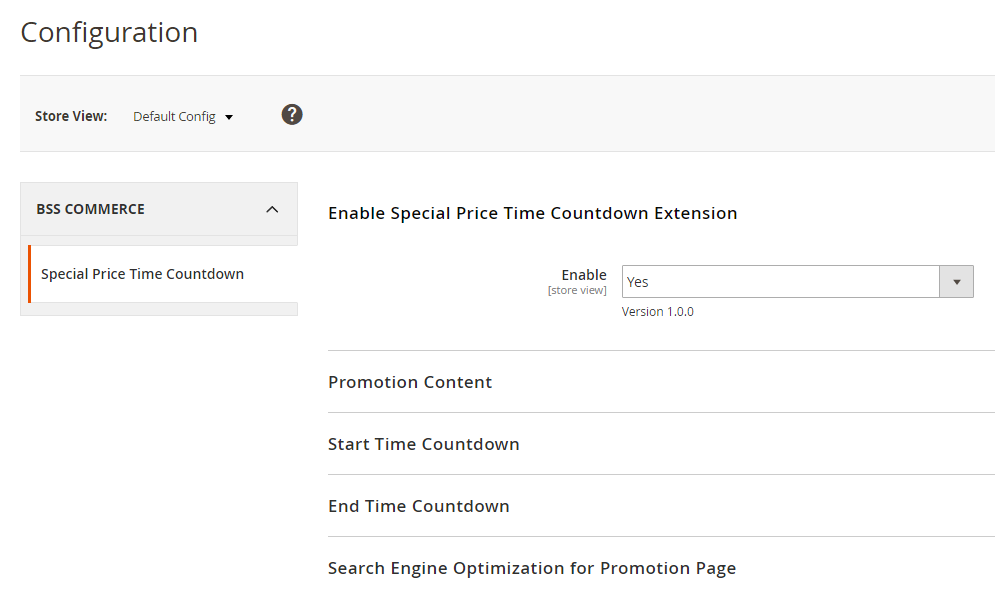 General config of Magento 2 Special Price Countdown extension