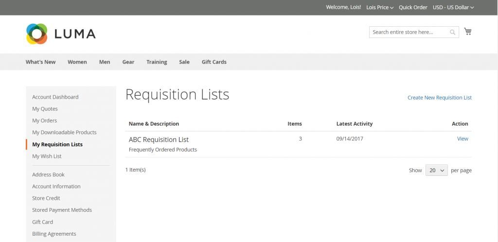 Magento 2 new features include Requisition List to simplify order placement.