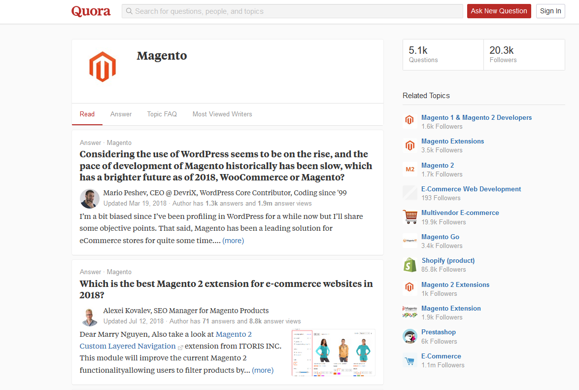 Magento tutorial in Quora