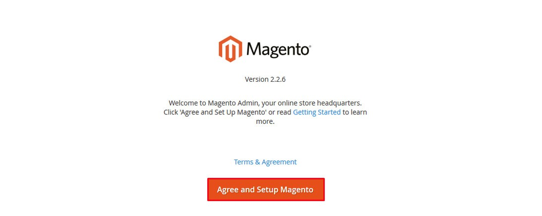 Agree and Set up Magento 2