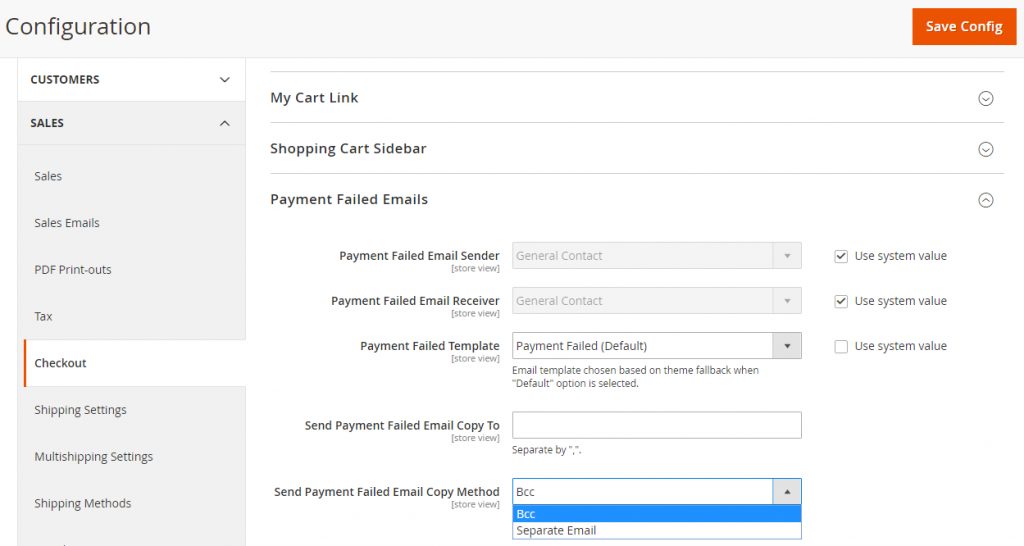 Configure payment failed emails in Magento 2