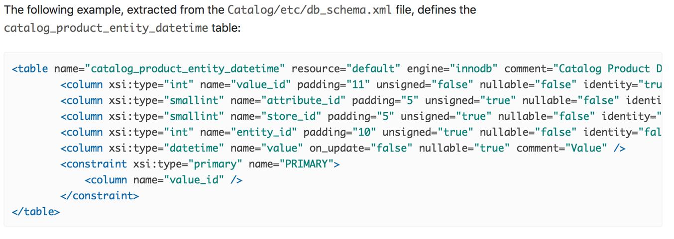 Example declarative db schema in Magento 2.3