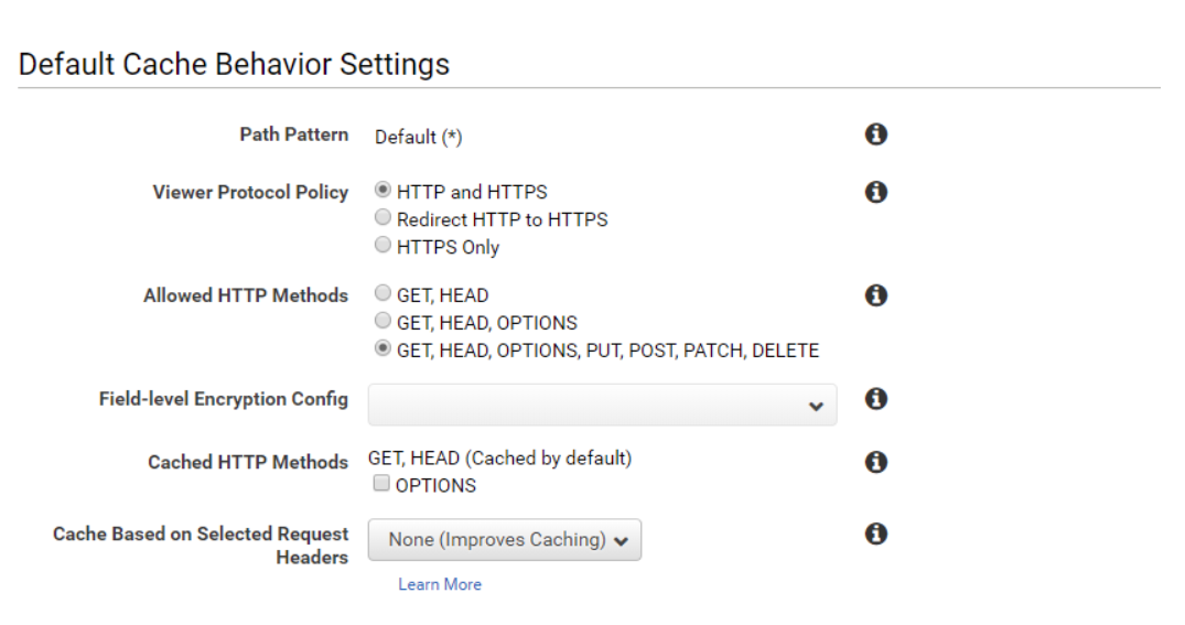 Set up AWS CloudFront CDN for Magento 2_Create Distribution_Default Cache Behavior Settings