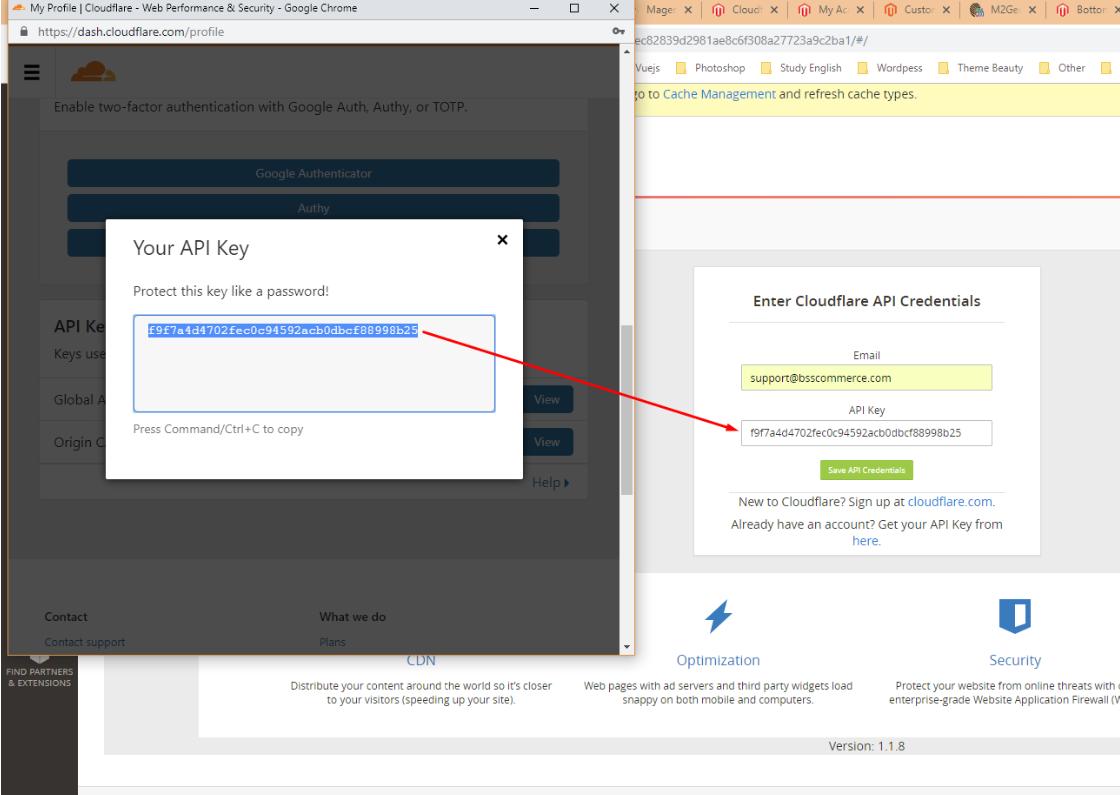 API key cloudflare cdn magento 2